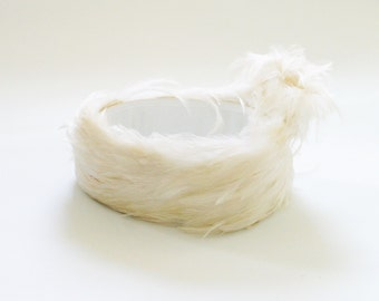 Vintage White Feather Hat Feather Flapper Headband Kentucky Derby Hat Kat Middleton Hat White Hat Fancy Hat 20s Hat Feather H