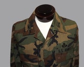 Vintage 80s Army National Guard Woodland Camo Camouflage BDU Battle Dress Uniform Shirt 56 Troop Command Special Forces Patch