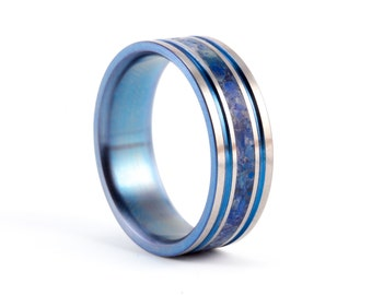 mens titanium anodized and semi precious stones ring unique blue wedding band water
