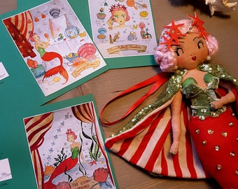 Set of 3, Glossy Sideshow Mermaid cards, A6, with a Set of matching Envelopes