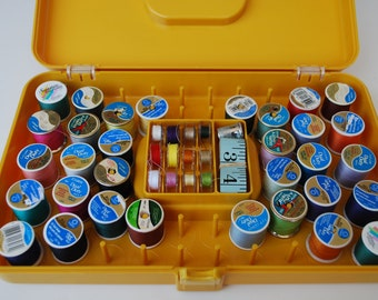 Thread box Vintage Yellow Sewing Box with Thread, Wilson Wil-Hold spools and sewing accessories
