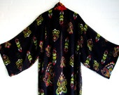 Kimono Style Robe Dress Jacket  Print black Red Yellow Blue Rozes Paisley Pattern elegant long