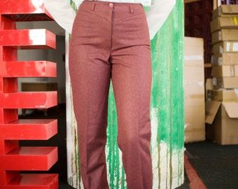 Vintage 70s Burgundy Wool Straight Leg Pants