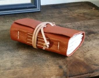 Leather Journal, Pocket-Size, Orange, Hand-Bound 3 x 4.5 Journals by The Orange Windmill 1649