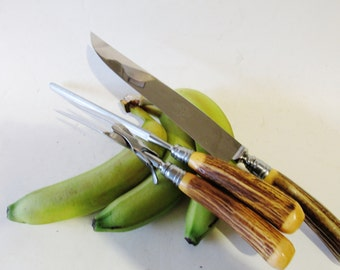 Vintage Faux Stag Horn Carving Set, Royal Brand Cutlery Carving Set,