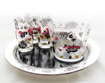 Casino Ice Bucket, Highball Glasses, Retro Barware, Vintage Bar Ware, Mad Men