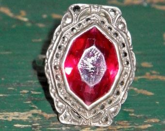 Vintage Sterling Marcasite pink Paste ring size 7