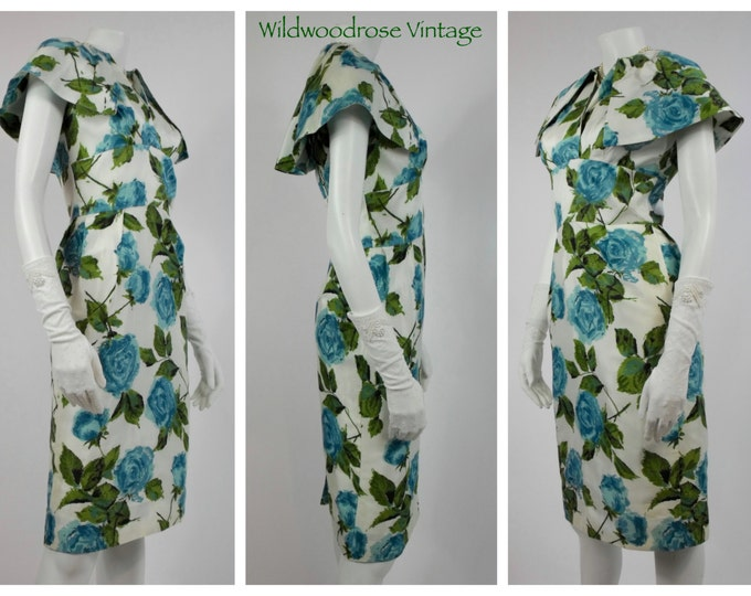 1960's Floral Wiggle Dress with Matching Linen Swing Coat - Cocktail Dress and Coat Set - Blue Cabbage Rose Taffeta Wiggle Dress - Size 4