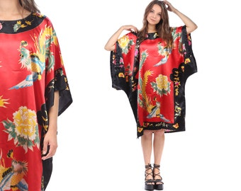 Mini Kimono Dress 80s Silk Satin CAFTAN Tunic Pheasant Birds Oriental Print Short Sleeves Red Black Yellow Bohemian Vintage Large to XL