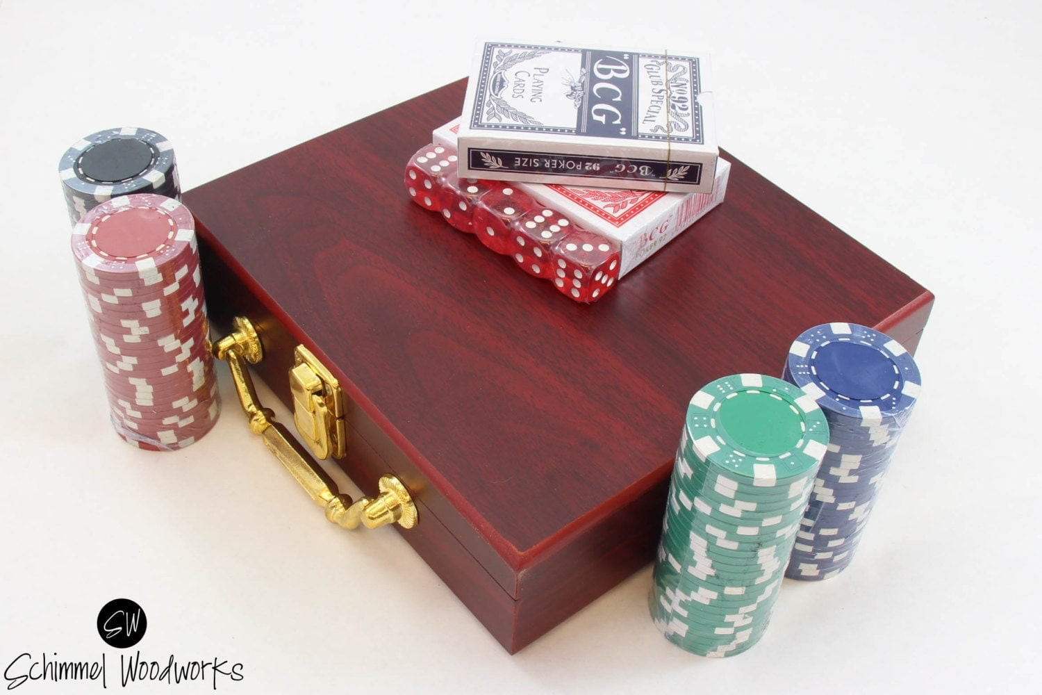 Personalized Engraved Poker Set Cards And Dice Included