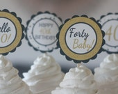 12 - 21st, 30th, 40th, 50th, 60th Birthday Gold Black Over the Hill Birthday Cupcake Toppers