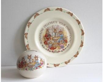 Royal Doulton Bunnykins Christening plate and money box / money bank. Royal Doulton Baptism plate and money bank