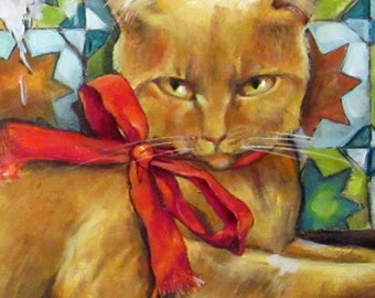 """Cat and Mouse original oil painting on wood panel 8""""x18"""" Unique horizontal art"""