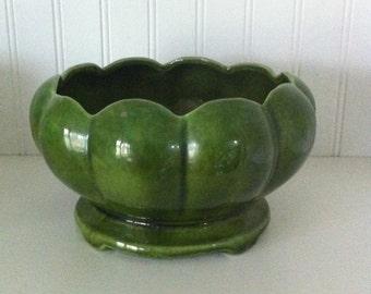 Green pottery-USA pottery-Christmas - planter-California-