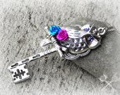 Great Horned Owl Fantasy Key / Skeleton Key Necklace / Key to my Heart Necklace / Silver Forest Jewelry / Valentines Day Gift Ideas for Her