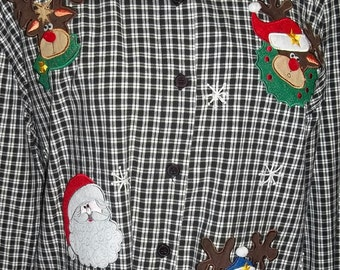 40% Off,  Vintage Christmas Blouse, Holiday Blouse, Ladies Blouse, Santa Claus, Black and white Gingham