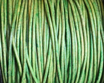 2mm Leather Cord  -  Green Distressed Leather Cord Round Natural Dye