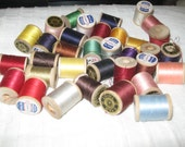 Lot of 36 Vintage Wooden Spools of Thread  small  Clarks Colors VintageShabby ToChic