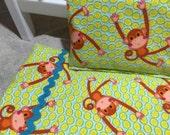 "Swinging Monkeys 18"" Flannel Blanket with Pillow"