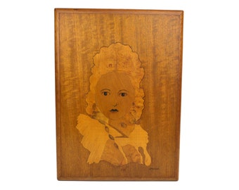 """Vintage Marquetry Portrait of a Lady // Signed Hand Crafted Woodwork, Wood Inlay Art // 1960s Inlaid Wood Picture By W.T. Mitchell 17"""" x 13"""""""