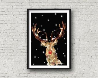 Red Nosed Reindeer - Reindeer - Rudolph - Christmas Reindeer - Print