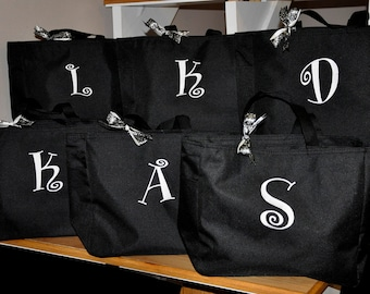 Bridesmaid Totes, 6 Bridesmaid Totes, Bridesmaid Tote Bag, Personalized Wedding Bag, Bridal Party Gift, Monogrammed Totes, Bridesmaids Gifts