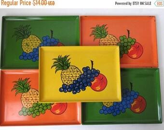 SUMMER SALE Vintage Plastic Square Fruit Snack Trays
