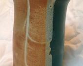 Wheel-thrown stoneware vase, turquoise and brown.