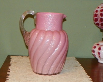 Victorian EAPG Harrach PITCHER Water Pink Mica Glass antique reed handle