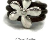 Flower ring,leather ring,women ring,boho ring,bohemian ring,jewelry set, Women Leather ring with flower charm,feminine ring,unique ring