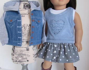 Hooded Denim Jacket, Button Front Skirt, Lace Heart Top, Sleeveless Tank, Cowboy Boots for 18 Inch Dolls Such as American Girl