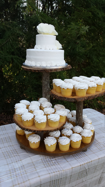Rustic Wedding Cupcake Stand Cake Dessert Server Log Slice 4