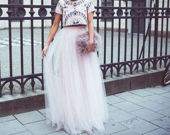 White  maxi tulle skirt, tutu skirt,floor long