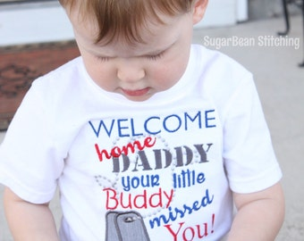 Homecoming Long or Short Sleeve Toddler Shirt. Welcome Home Daddy Shirt. Military Family