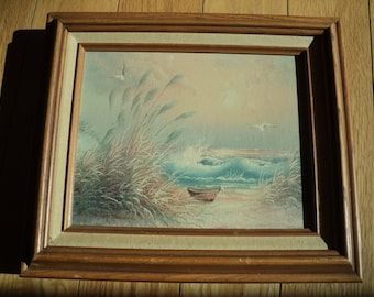 Vintage Original Oil Painting of a Beach Shoreline with wonderful dune grasses and an empty boat with a rolling wavy sea in the background