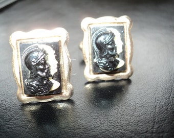 Vintage Cameo Profile relief images of two men in a Roman Guard Headpieces in Good Shape made with vintage Bakelite Plastic in Good Shape