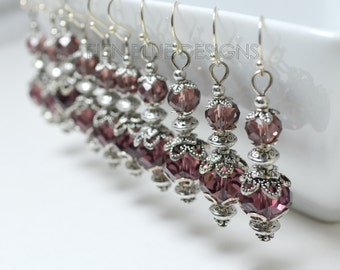 Plum Crystal Earrings, Tibetan Earrings, Vintage Style Earrings, Purple Bridesmaid Earrings, Romantic Earrings, Vintage Plum Wedding Jewelry