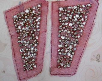 Silver Clear Stone Beaded Appliques