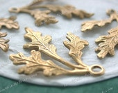 Raw Brass Leaves, 35 x 27mm Vintage Style Leaf Stampings, DIY Wedding Brass Tiara Headpiece Wreath Supplies, Made in USA ~ STA-221