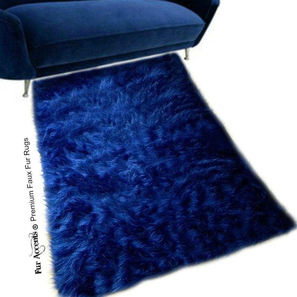 Faux Fur Sheepskin Rug Rectangle Shaggy Soft Navy Blue