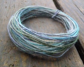 Fiber Wire Core Handspun Art Yarn 24 gauge wire Red Riding Hoods Wolf- The green goes blue
