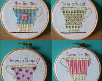 Teacups Cross Stitch Pattern Tea Cups Instant Download Cross Stitch Chart PDF Time For Tea Take A Break Fancy A Cuppa Come For Tea