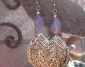 Amethyst and Vintage Golden Stacked Textured Leaves Earrings