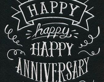 Embroidered Blackboard Style Pillowcase - Happy Anniversary - 100% Linen  Chalkboard Look  Anniversary Home Decor Gift