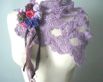 Lavender Crocheted Scarflette, Crocheted Neckpiece, Shabby Lace Scarf, Bohemian Flower Scarf, Romantic Purple Neckwarmer, Violet Neck Warmer