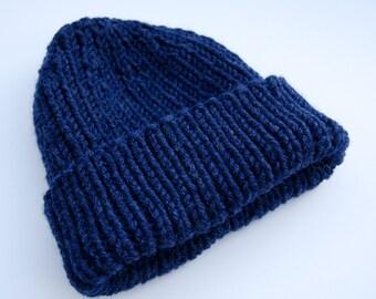 Ribbed navy beanie, slouchy beanie, knit navy hat, navy slouchy hat, navy knit hat, knit navy beanie, chunky knit hat, chunky knit beanie