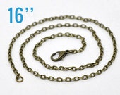"""100 Bronze Necklaces - WHOLESALE - Textured Link Chains - 3.5x2.5mm - 16""""  - Ships IMMEDIATELY  from California - CH129d"""
