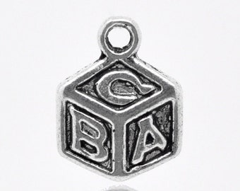 "10 Block Charms - Antique Silver - ""ABC"" - 13x10mm - Ships IMMEDIATELY from California - SC1249"