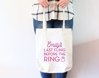 Custom Bachelorette Tote Bag - Last Fling Before the Ring Bachelorette Tote Bag