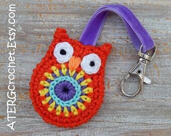 OWL keychain 'red' by ATERGcrochet